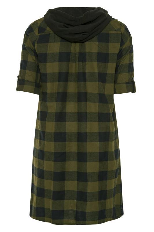 Khaki Checked Hooded Longline Shirt_BK.jpg