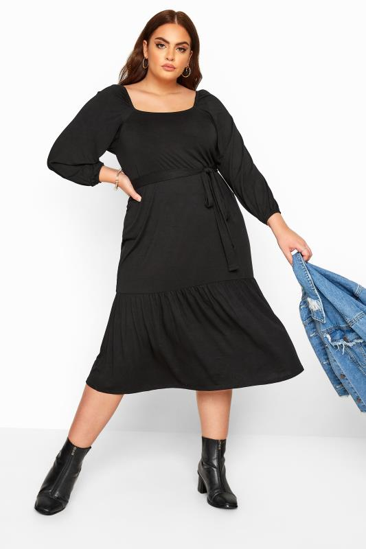 Plus Size Jersey Dresses LIMITED COLLECTION Black Square Neck Tiered Midi Dress