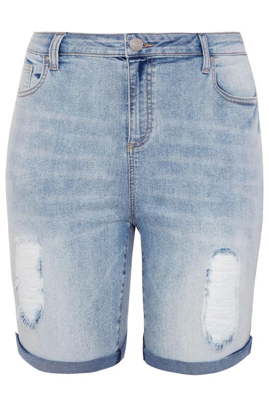 LIMITED COLLECTION Bleach Blue Distressed Denim Shorts_F.jpg