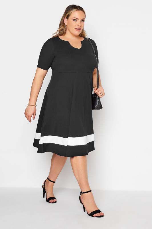 Plus Size  YOURS LONDON Black Notch Neck Skater Dress