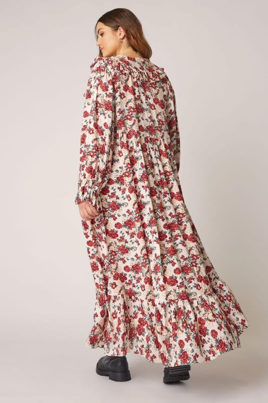 THE LIMITED EDIT Cream Floral Frill Smock Maxi Dress_C.jpg