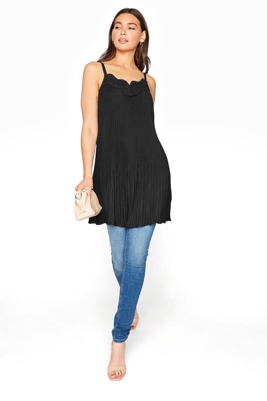 LTS Black Pleat Lace Cami