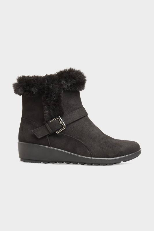 Black Vegan Suede Wedge Heel Buckle Ankle Boots In Extra Wide Fit_A.jpg