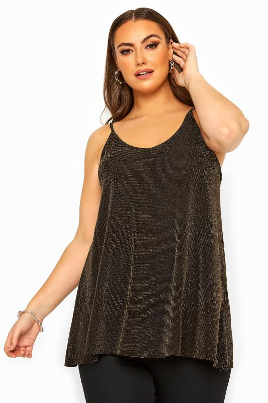 Cami-top met v-hals in metallic goud