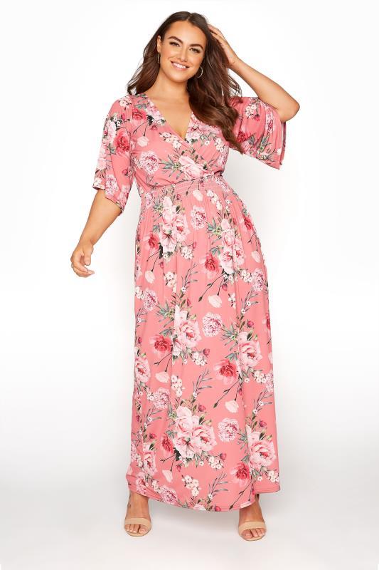 dla puszystych YOURS LONDON Pink Floral Wrap Midaxi Dress