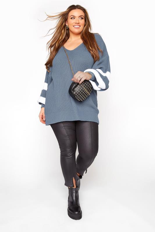 Dusky Blue Varsity Stripe Knitted Jumper