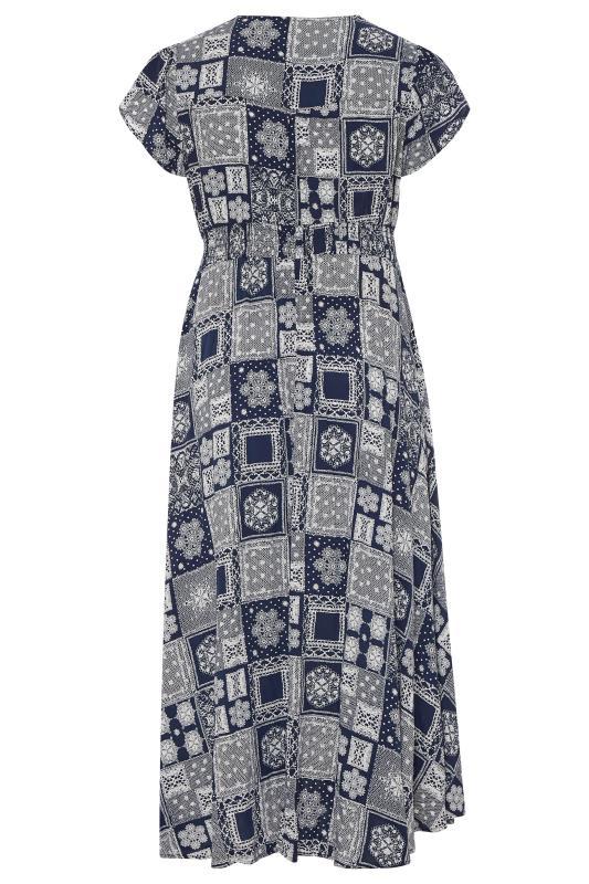 BUMP IT UP MATERNITY Dark Blue Tile Print Maxi Dress_BK.jpg