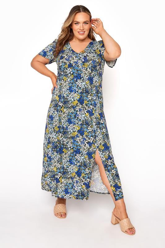 Plus Size  YOURS LONDON Blue Floral V-Neck Tea Dress