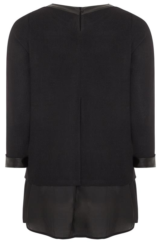 YOURS LONDON Black PU Trim Layered Knitted Top