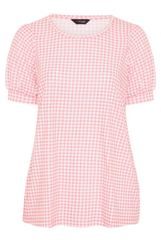 Plus Size  Pink Gingham Puff Sleeve T-shirt