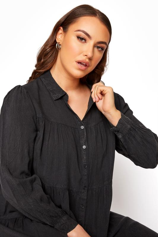 LIMITED COLLECTION Black Washed Denim Look Tiered Shirt Dress_D.jpg