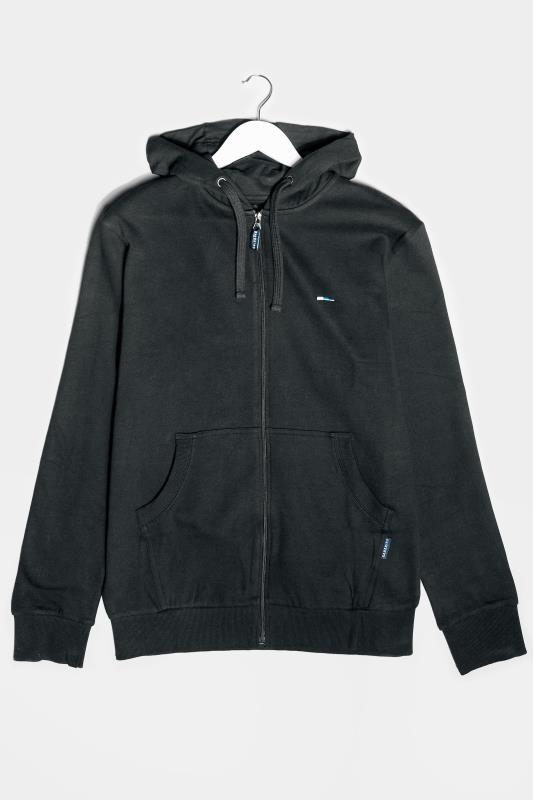Casual / Every Day dla puszystych BadRhino Black Essential Zip Through Hoodie
