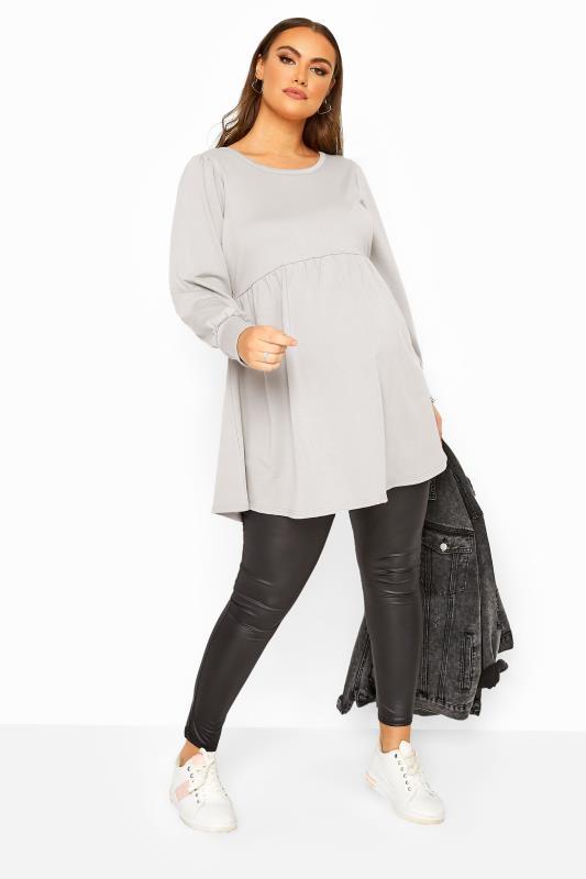 BUMP IT UP MATERNITY Grey Peplum Sweatshirt