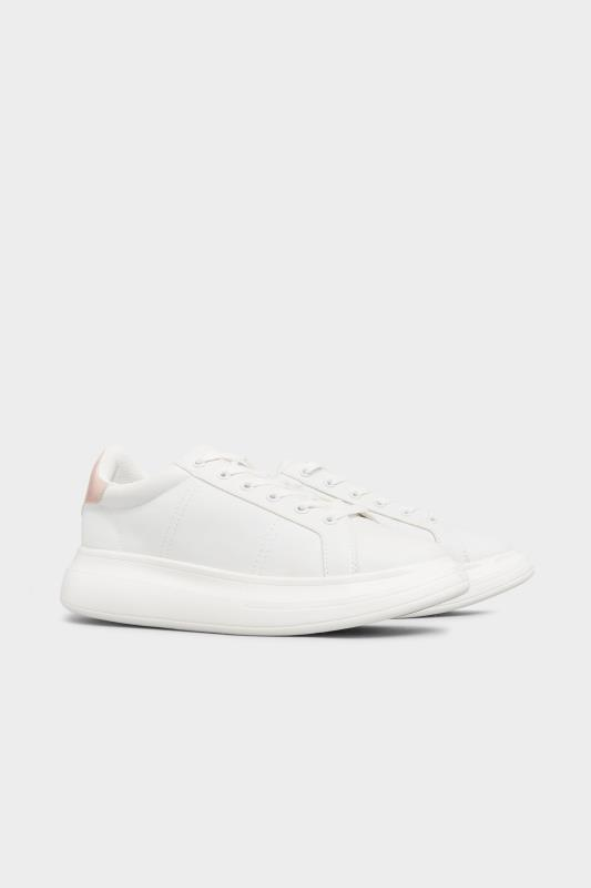 LIMITED COLLECTION White & Pink Vegan Leather Platform Trainers In Wide Fit_B.jpg