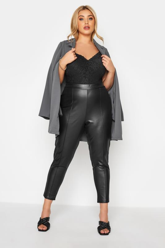 YOURS LONDON Black Leather Look Trousers_A.jpg