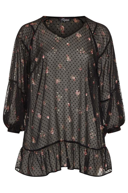 LIMITED COLLECTION Black Floral Dobby Balloon Sleeve Blouse