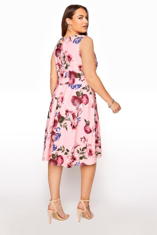 YOURS LONDON Pink Floral Skater Dress_C.jpg