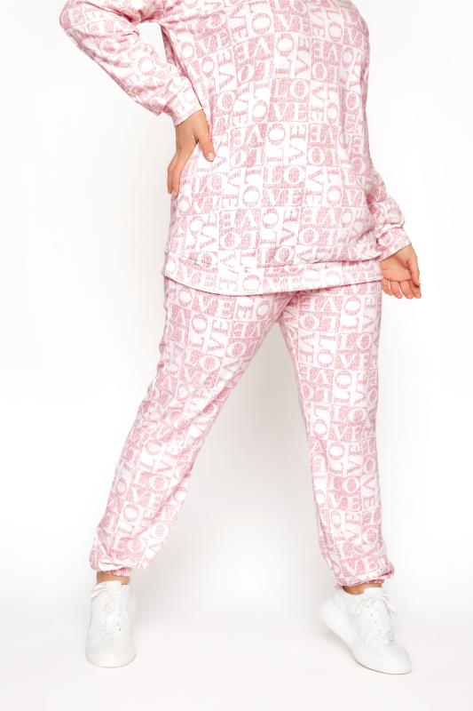 Plus Size  LIMITED COLLECTION Pink 'Love' Printed Joggers