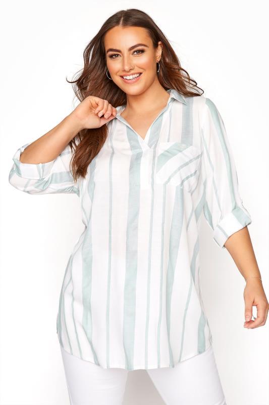 Sage Green Stripe Overhead Shirt
