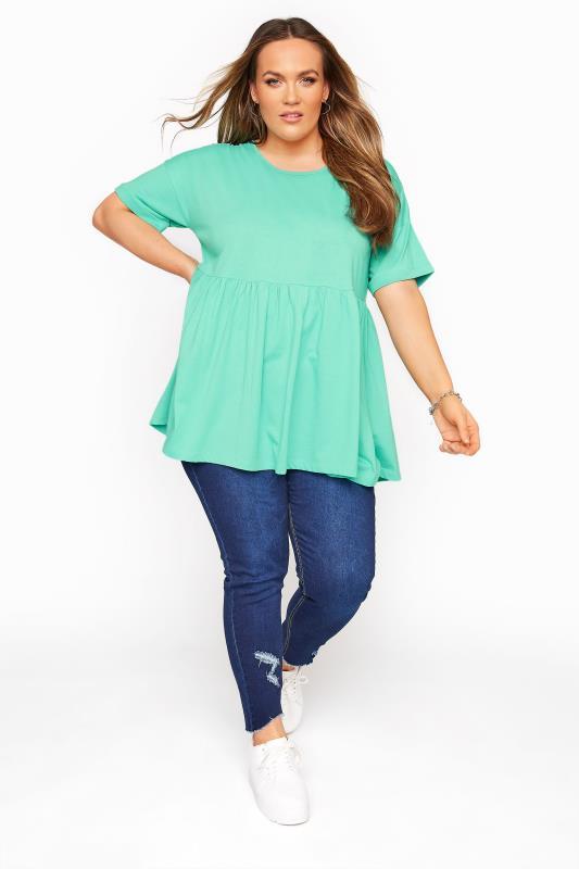 Mint Green Drop Shoulder Peplum Tunic