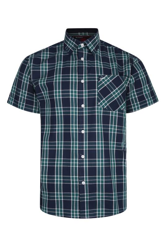 Men's  KAM Navy Casual Check Shirt