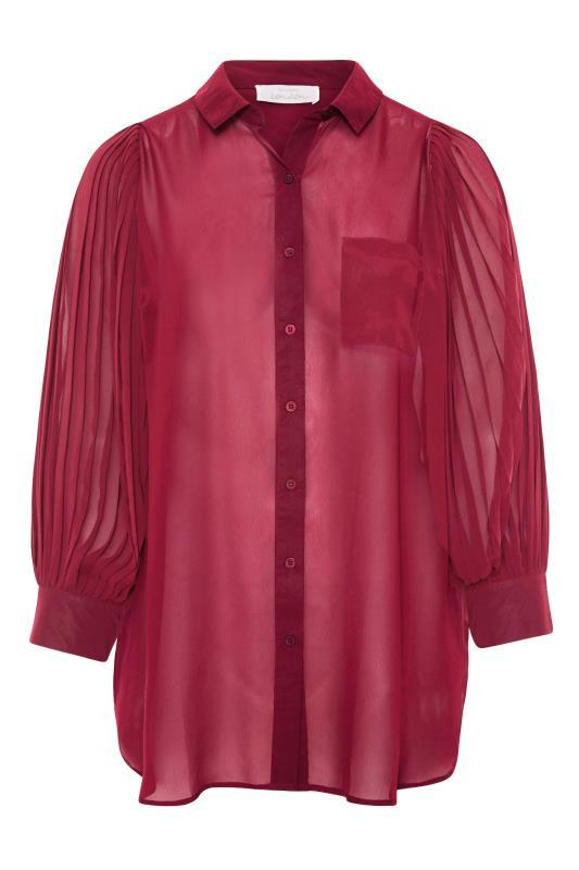 YOURS LONDON Burgundy Pleat Sleeve Shirt_F.jpg