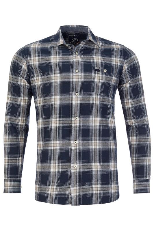 Plus Size  RAGING BULL Navy Check Shirt