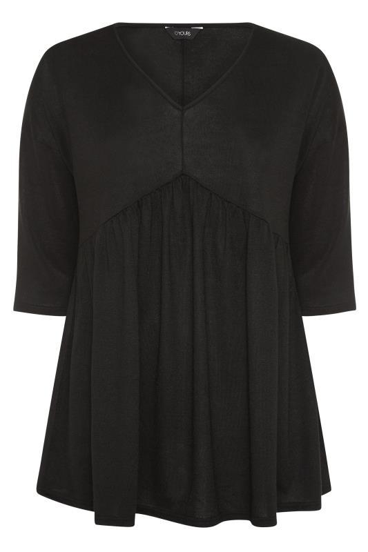 Black V-Neck Knitted Peplum Top_f.jpg