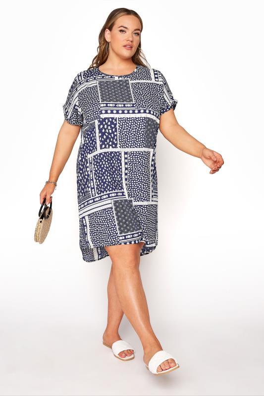 Plus Size  Navy Patchwork Tunic Dress