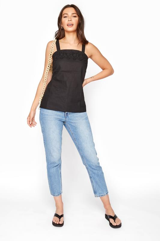 Black Sleeveless Linen Lace Top
