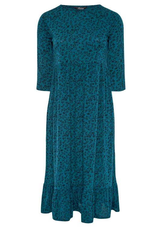 LIMITED COLLECTION Blue Floral Smock Midaxi Dress_F.jpg