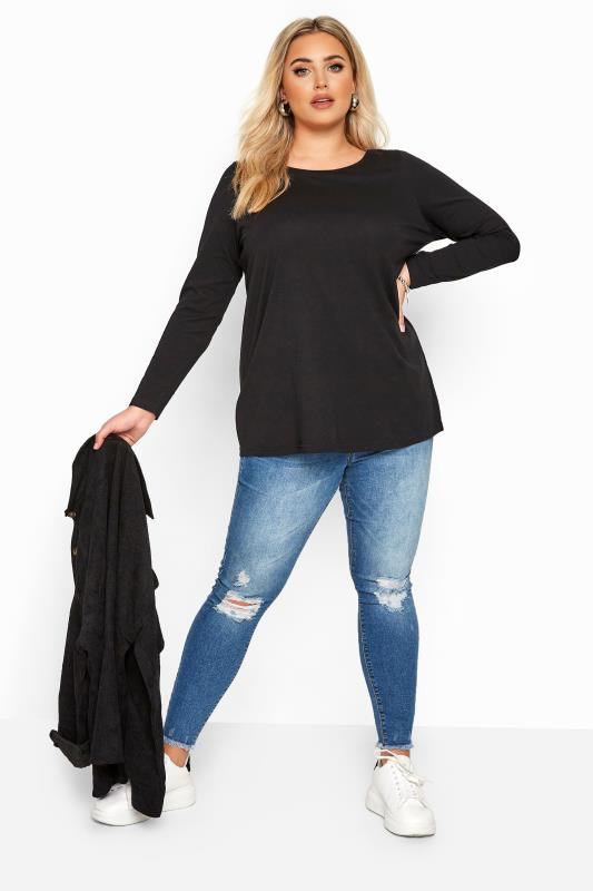 Black Cotton Long Sleeve Top