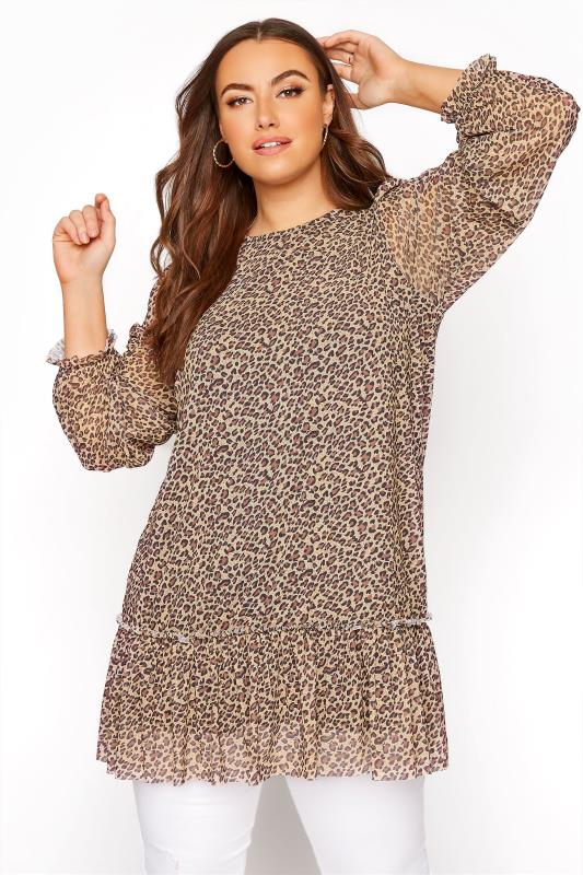 Plus Size  Brown Chiffon Animal Print Tunic Top
