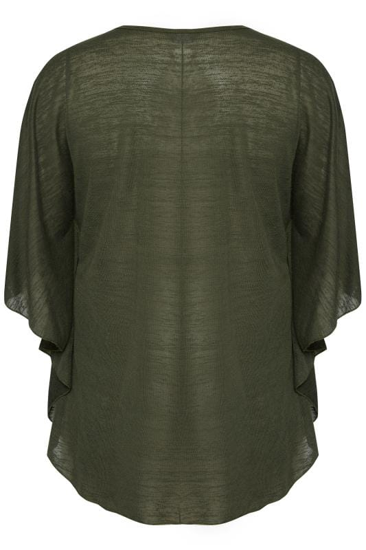 SIZE UP Dark Green Fine Knit Cape Top