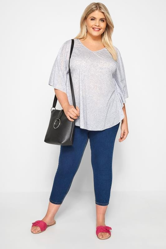 SIZE UP Blue Marl Jersey Cape Top