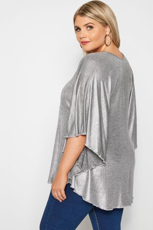 SIZE UP Silver Metallic Cape Top
