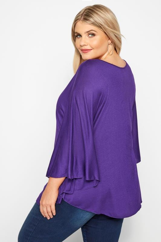 SIZE UP Purple Jersey Cape Top