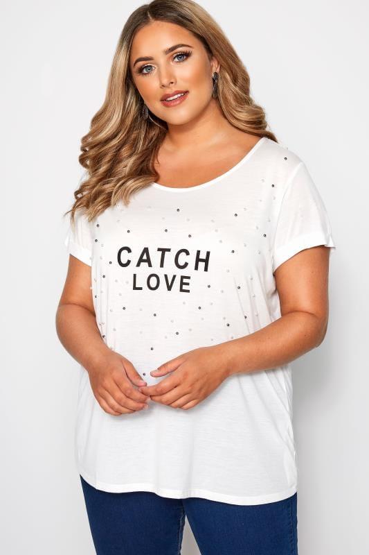 SIZE UP White Pearl Embellished Slogan T-Shirt