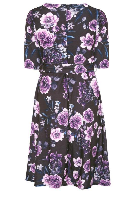 YOURS LONDON Black Floral Milkmaid Skater Dress_BK.jpg