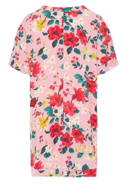 Pink Floral Notch Neck Throw On Dress_bk.jpg