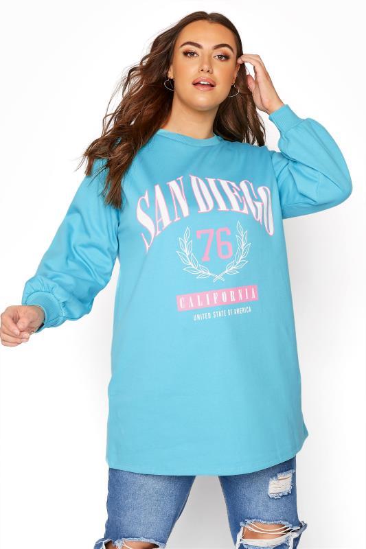 Plus Size  Blue 'San Diego' Logo Sweatshirt