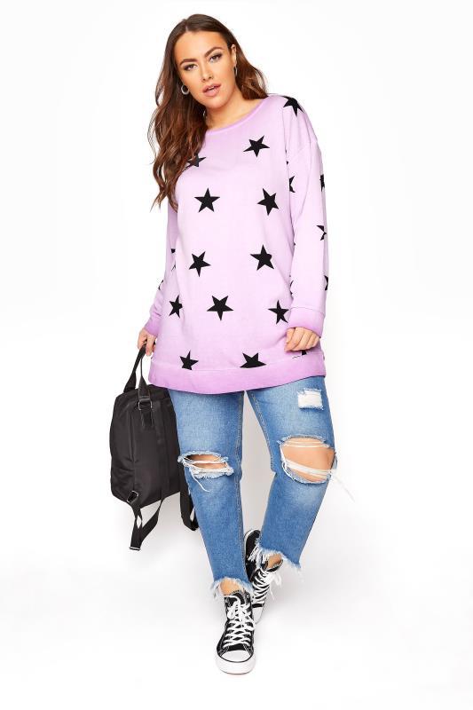 Lilac Star Washed Sweatshirt