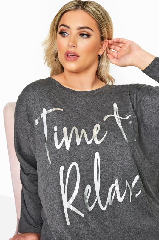 Grey Floral 'Time To Relax' Slogan Lounge Set