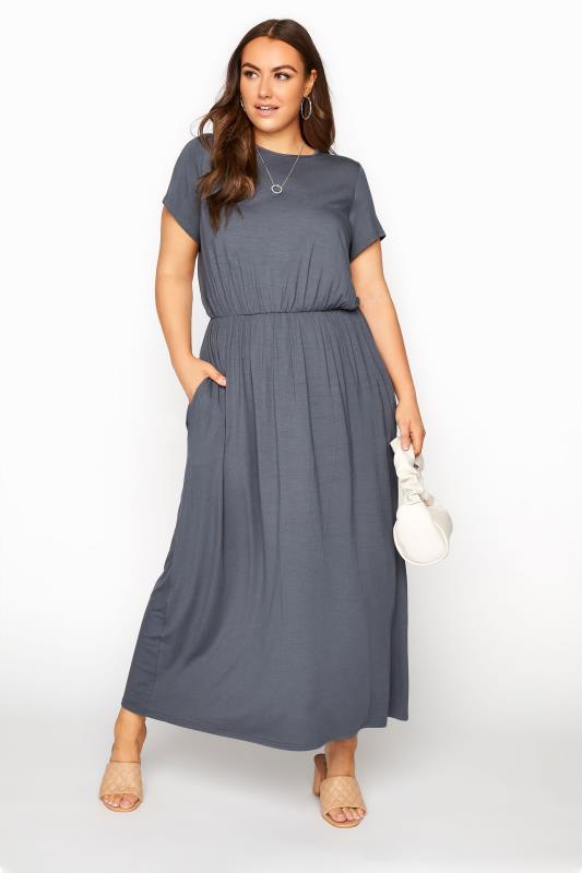YOURS LONDON Grey Pocket Maxi Dress_B.jpg