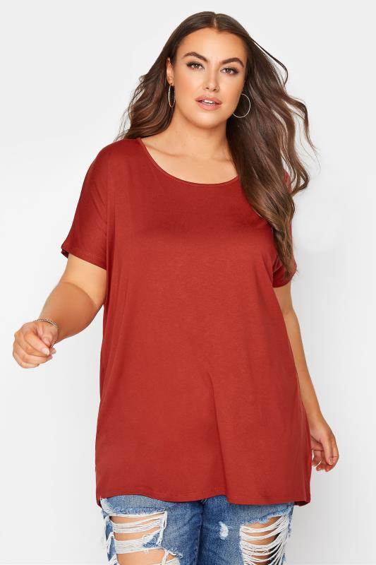 Plus Size  Rust Dipped Hem Short Sleeved T-Shirt