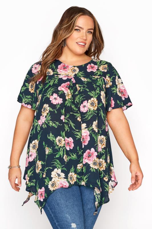 Plus Size  Navy Floral Angel Sleeve Hanky Hem Top