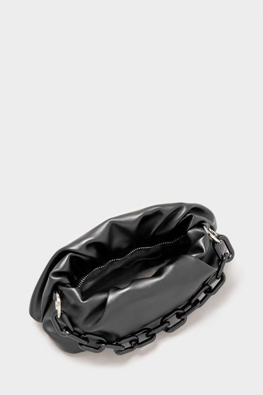 Black Ruched Chain Shoulder Bag