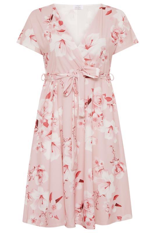 Plus Size  YOURS LONDON Blush Pink Floral Wrap Skater Dress