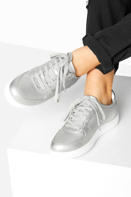 Yours Silver Vegan Leather Lace Up Trainers In Extra Wide Fit