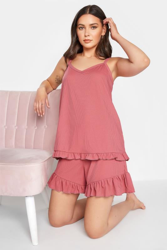 Tall  LTS Pink Frill Pyjama Vest Top